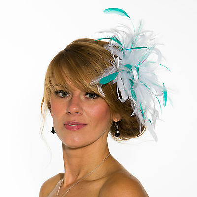 White Fascinator hat with jade green highlight/choose any colour satin/feathers