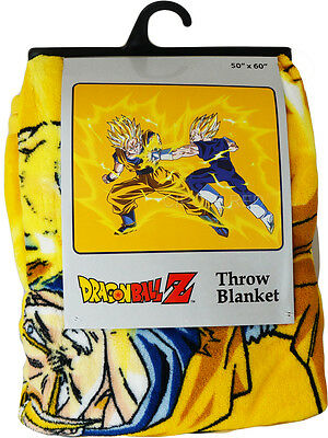 Dragon Ball Z Super Saiyan Goku Vs Vegeta Throw Blanket Official New