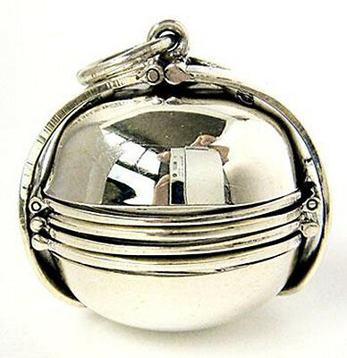 Extra Large Photo Ball Locket Sterling 925 Silver Pendant Family Picture Jewelry