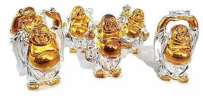 Set of 6 Gold & Silver colour Happy Laughing Lucky Buddha's Ornaments Feng Shui