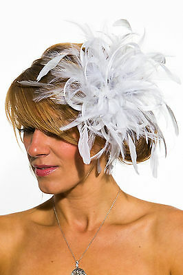 White Fascinator hat with grey highlight/choose any colour satin/feathers