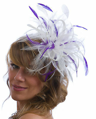 White Fascinator hat with purple highlight/choose any colour satin/feathers