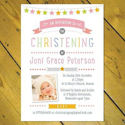 Personalised Christening Naming Day invitations girl boy photo