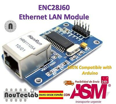 ENC28J60 Ethernet Shield Network Board Module 25MHZ Crystal AVR 51 LPC 5V