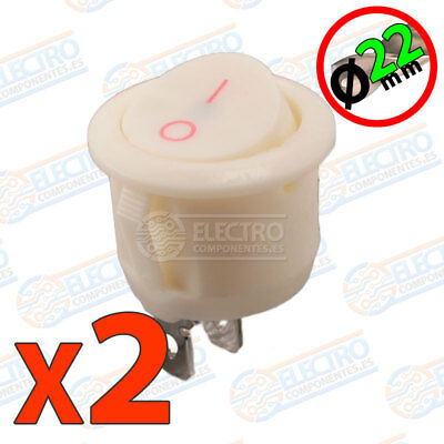 2x Interruptor ON OFF Redondo BLANCO 22mm empotrable panel 6A 220v SPST