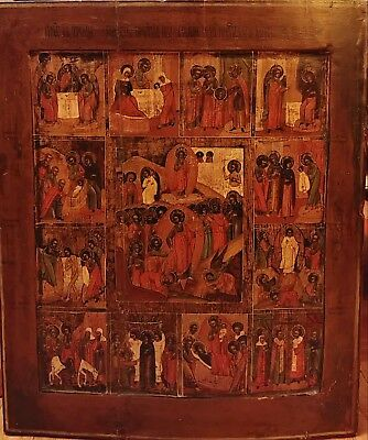 ANTIQUE RARE 19C HAND PAINTED RUSSIAN ICON OF THE FEASTS 53 x 44,5 cm