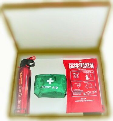 Safety Essentials Gift Box With Fire Extinguisher ,blanket And First Aid Kit.ce