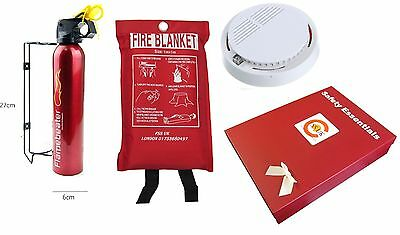 Fire Safety Essential Box Set. Fire Extinguisher + Fire Blanket + Smoke Detector