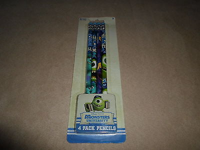 Set Of 4 Disney Monsters University Wood Pencils, For Ages 3+, NEW IN PACKAGE!!