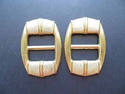 1970's Vintage Anodised Linear Gold-finish Ladies Buckles-Pair