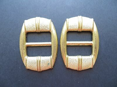 1970s Vintage Linear Gold-tone Anodised Metal MOD Dress Belt Buckles-Pair