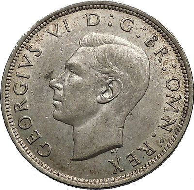 1943 United Kingdom of Great Britain GEORGE VI Half Crown Silver Coin i56132