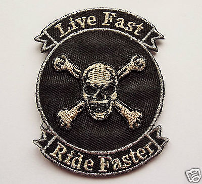 Live Fast Ride Faster Embroidered Sew On Iron on Biker patch Motorcycle Chopper