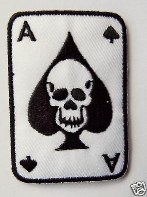 Ace of Spades & Skull Embroidered Sew On Biker patch Motorcycle Chopper