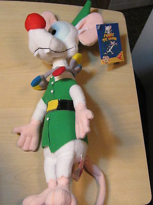 "Pinky & the Brain - 14"" Pinky Christmas Elf Stuffed Plush Rare - Dakin 1995"