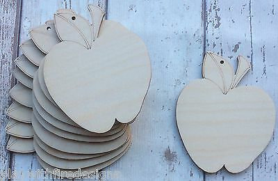 set of 10 laser cut wooden apples for DIY teachers gift unpainted