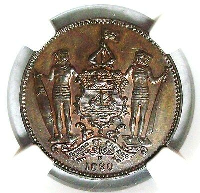 1890H British North Borneo Bronze Cent Ngc Ms-63Bn