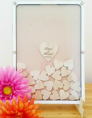 Personalised Wooden Wedding Guestbook, drop box frame, free 60 hearts