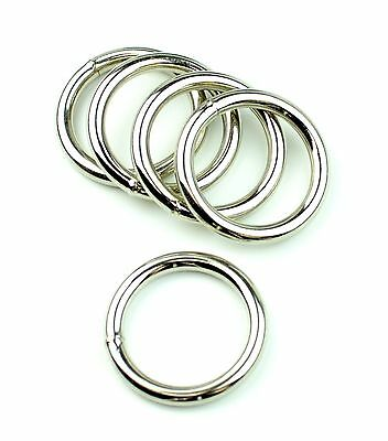 "Stainless Steel Rings Welded Nickel Plated 1 3/4 "" Eye Size-8 Pcs"