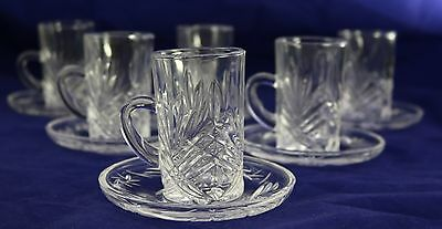 12 Piece Crystal Glass Cup & Saucer Set 0097