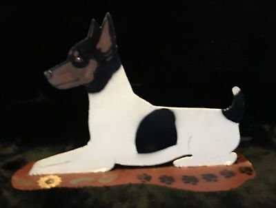 Vintage Hand Painted Fox Terrier Metal Art