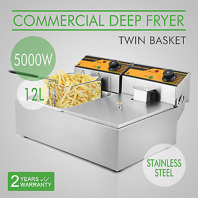 5000W 20L Twin Tank Basket Electric Benchtop Deep Fryer Restaurant Commercial AU