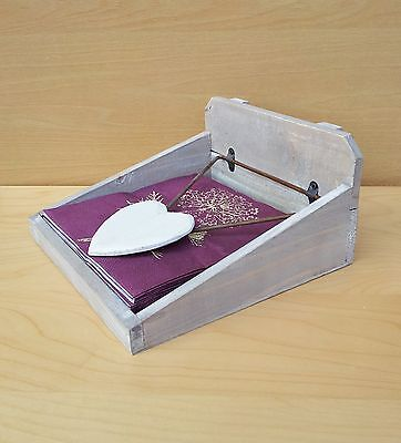 Gisela Graham Wooden Napkin Holder Natural Wood Shabby Chic Serviette Box ty