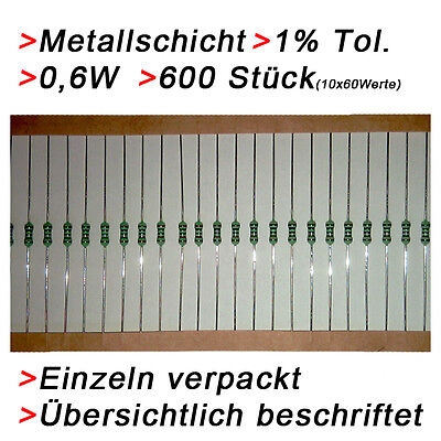 600 Metallschicht Metallfilm Widerstände 0,6W 1% Sortiment Set  Resistor