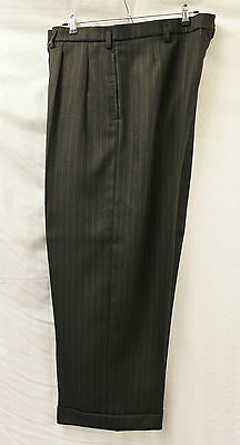 Men's 1940's Brown pinstripe Oxford Bag Trousers WWII reenactment 40's WW2 40s