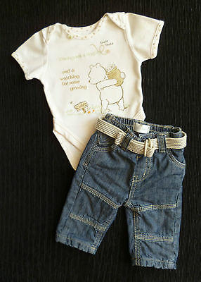 Baby clothes BOY 0-3m Disney Pooh Bear cream bodysuit/denim jeans cream belt