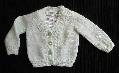 Baby clothes UNISEX BOY GIRL newborn 0-1m pale green handmade knitted cardigan