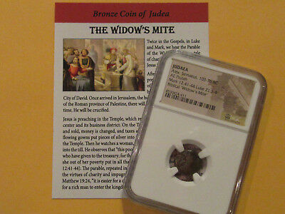 """NGC Widows Mite"" 2000 year old coin Bible story gift for religion Christian"