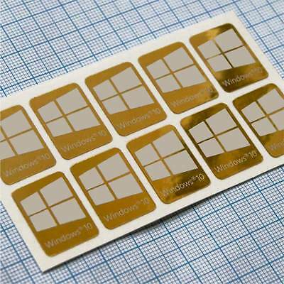 10 x Windows 10 sticker badge logo aufkleber  - HD Quality, Gold Background