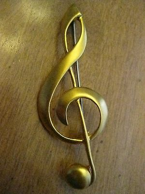 Clef De Sol Music Key Gold Tone Brooch Pin Button