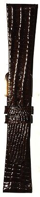 Town & Country Lizard Grain Genuine Leather Short Watch Band Dark Brown 18 19mm