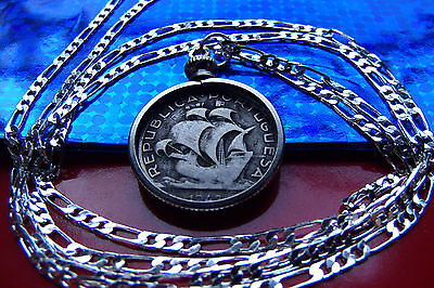 "Rare Portugal Silver Sailing Ship Coin Pendant on a 30"" 925 Silver Chain"