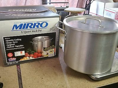 Mirro Corp 12 Qt. Stock Pot NSF Item #4012 Manitowoc, WI USA with lid! & Box