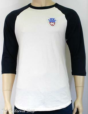 b39c050e25b57 VANS Off The Wall Camp Raglan Shirt Mens White Navy California Bear Tee New  NWT