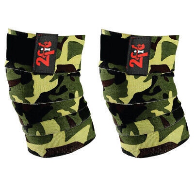 2Fit KNEE WRAPS CAMO WEIGHTLIFTING TRAINING LEG KNEE  BANDAGE STRAP CAMOUFLAGE G