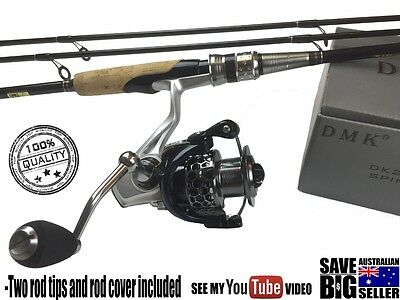 Fishing Rod And Reel Quality Spin Combo 2.1m 2xrod tips (see feedback)