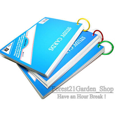 x3 Ruled Index Note Cards  With Plastic Ring - Medium Size  - 3 Pcs - 105 Cards