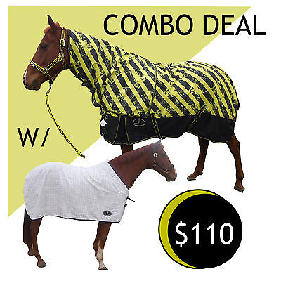 Waterproof 600D  No Fill  Horse Rug w/ under rug Combo Deal Rainsheet