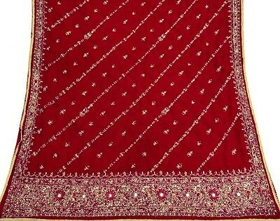 Vintage India Bridal Dupatta Long Scarf Heavy Beaded Fabric Antique Red Stole