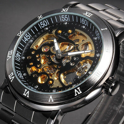 Fashion Men's Skeleton Gunmetal Automatic Mechanical Stainless Steel Sport Watch