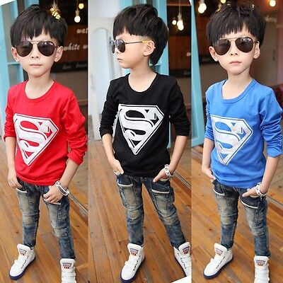 Superman Baby Kids Boys Cartoon Superman Tee Tops t Shirt Age 2 3 4 5 6 7 Years