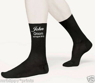 Personalised Groom Best Man Usher etc Your Own Name and Date Socks Size 6-12