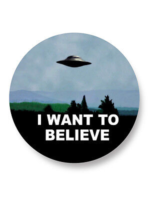 "Pin Button Badge Ø25mm 1"" I Want to Believe Alien Ovni"