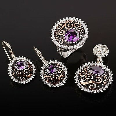 Russian STERLING 925 SILVER CZs  earrings, pendant, ring set  NWT. DELUXE!