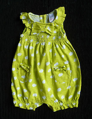 Baby clothes GIRL 0-3m NEXT yellow/green dress-style romper white spots SEE SHOP
