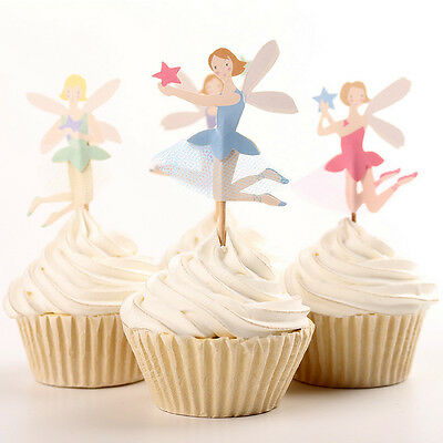 24pcs Ballerina Ballet Fairy Party Supplies Cupcake Wrappers Toppers Baby Shower